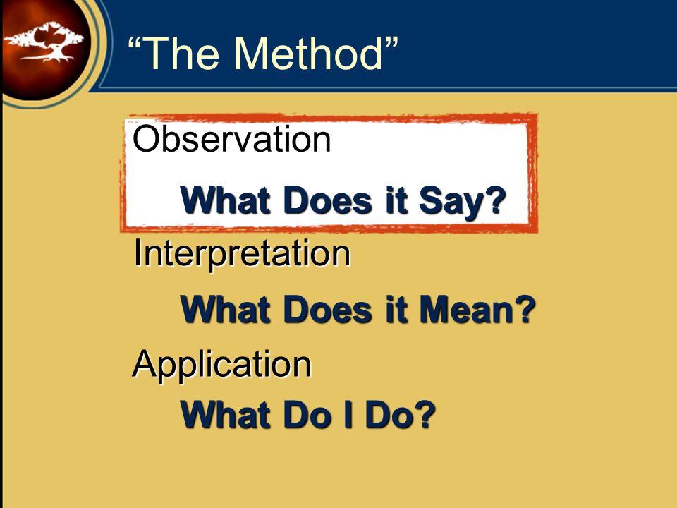 The Method Observation Interpretation Application What Does it Say.