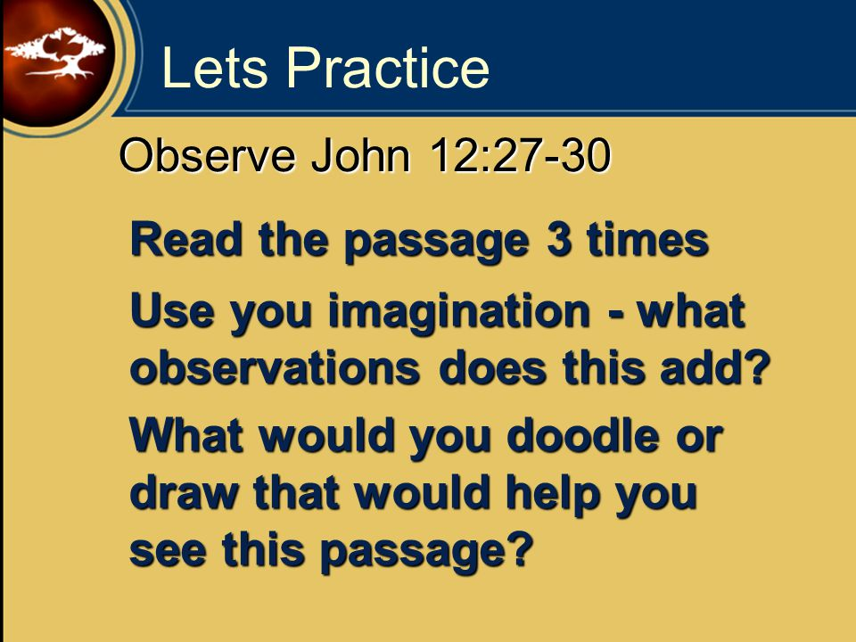 Lets Practice Observe John 12:27-30 Read the passage 3 times Use you imagination - what observations does this add.
