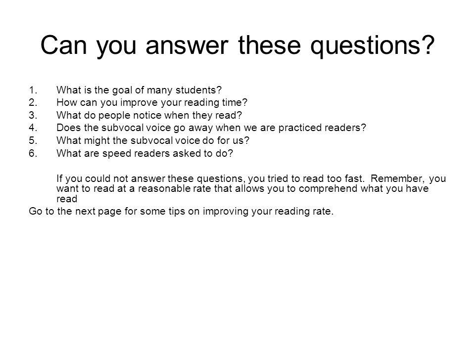 Reading quickly vs.