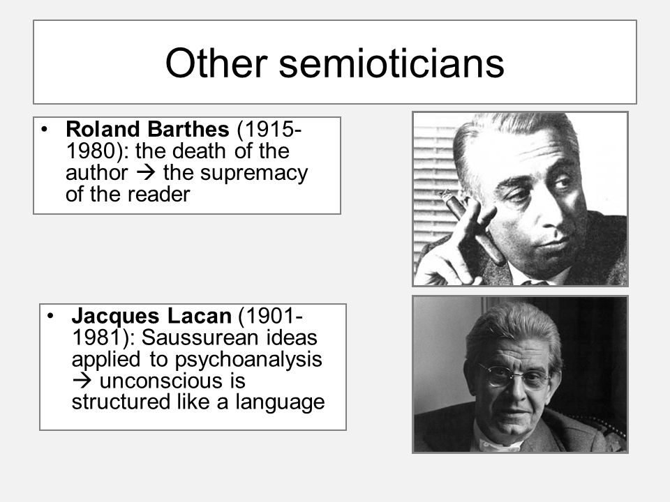 Other semioticians Roland Barthes (1915- 1980): the death of the author  the supremacy of the reader Jacques Lacan (1901- 1981): Saussurean ideas applied to psychoanalysis  unconscious is structured like a language