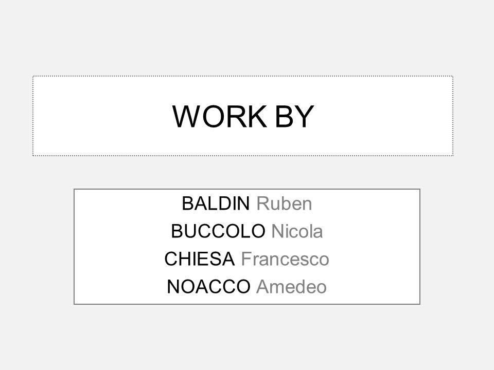 WORK BY BALDIN Ruben BUCCOLO Nicola CHIESA Francesco NOACCO Amedeo