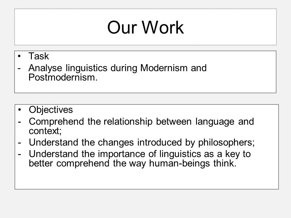 Our Work Task -Analyse linguistics during Modernism and Postmodernism. Objectives -Comprehend the relationship between language and context; -Understa