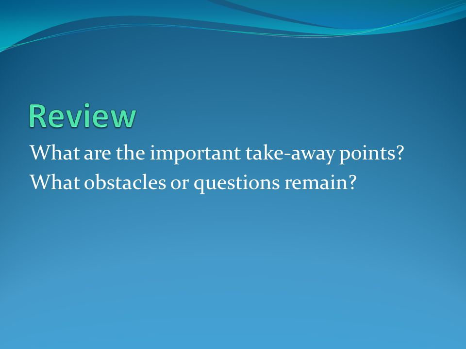 What are the important take-away points? What obstacles or questions remain?