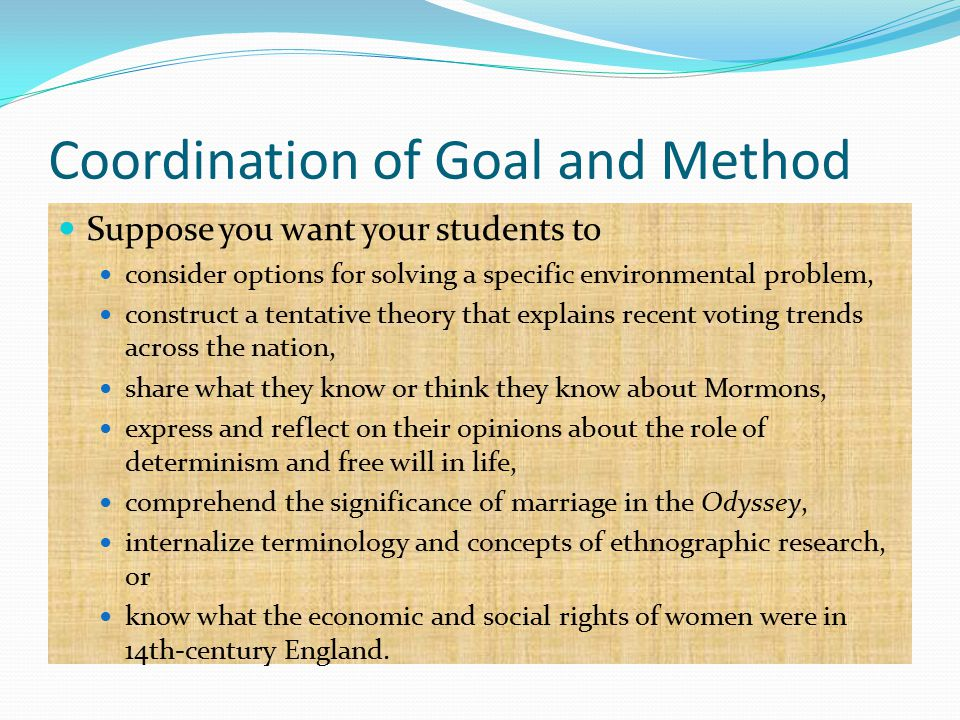 Coordination of Goal and Method Suppose you want your students to consider options for solving a specific environmental problem, construct a tentative theory that explains recent voting trends across the nation, share what they know or think they know about Mormons, express and reflect on their opinions about the role of determinism and free will in life, comprehend the significance of marriage in the Odyssey, internalize terminology and concepts of ethnographic research, or know what the economic and social rights of women were in 14th-century England.