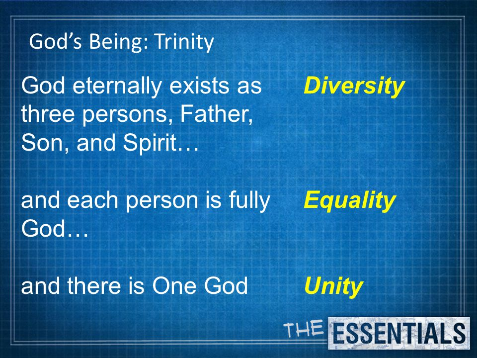 God's Being: Trinity God eternally exists as three persons, Father, Son, and Spirit… and each person is fully God… and there is One God Diversity Equality Unity