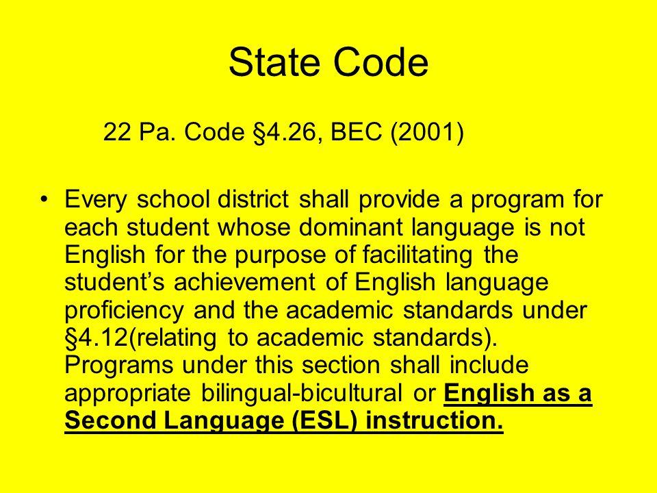 State Code 22 Pa.