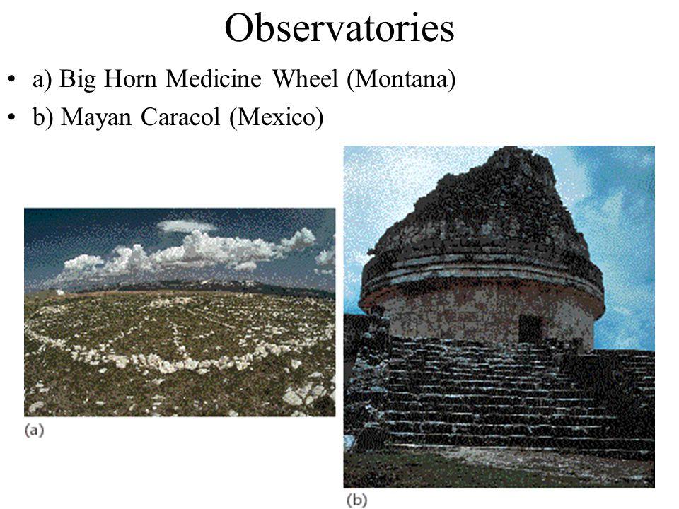 Observatories a) Big Horn Medicine Wheel (Montana) b) Mayan Caracol (Mexico)
