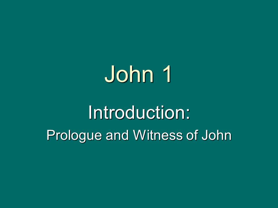 John 1 Introduction: Prologue and Witness of John