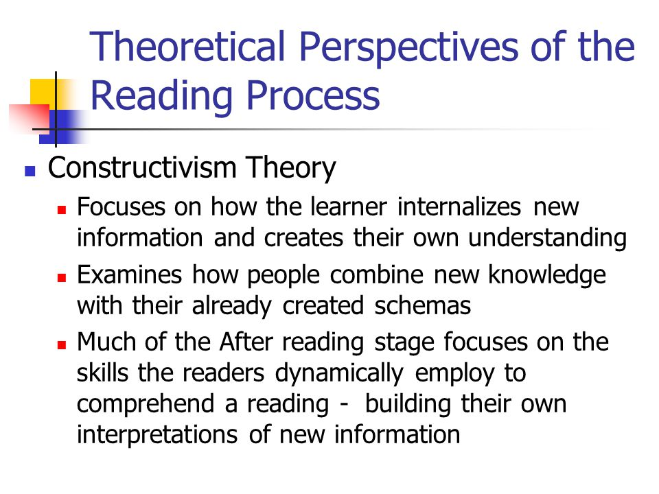 Theoretical Perspectives of the Reading Process Constructivism Theory Focuses on how the learner internalizes new information and creates their own understanding Examines how people combine new knowledge with their already created schemas Much of the After reading stage focuses on the skills the readers dynamically employ to comprehend a reading - building their own interpretations of new information