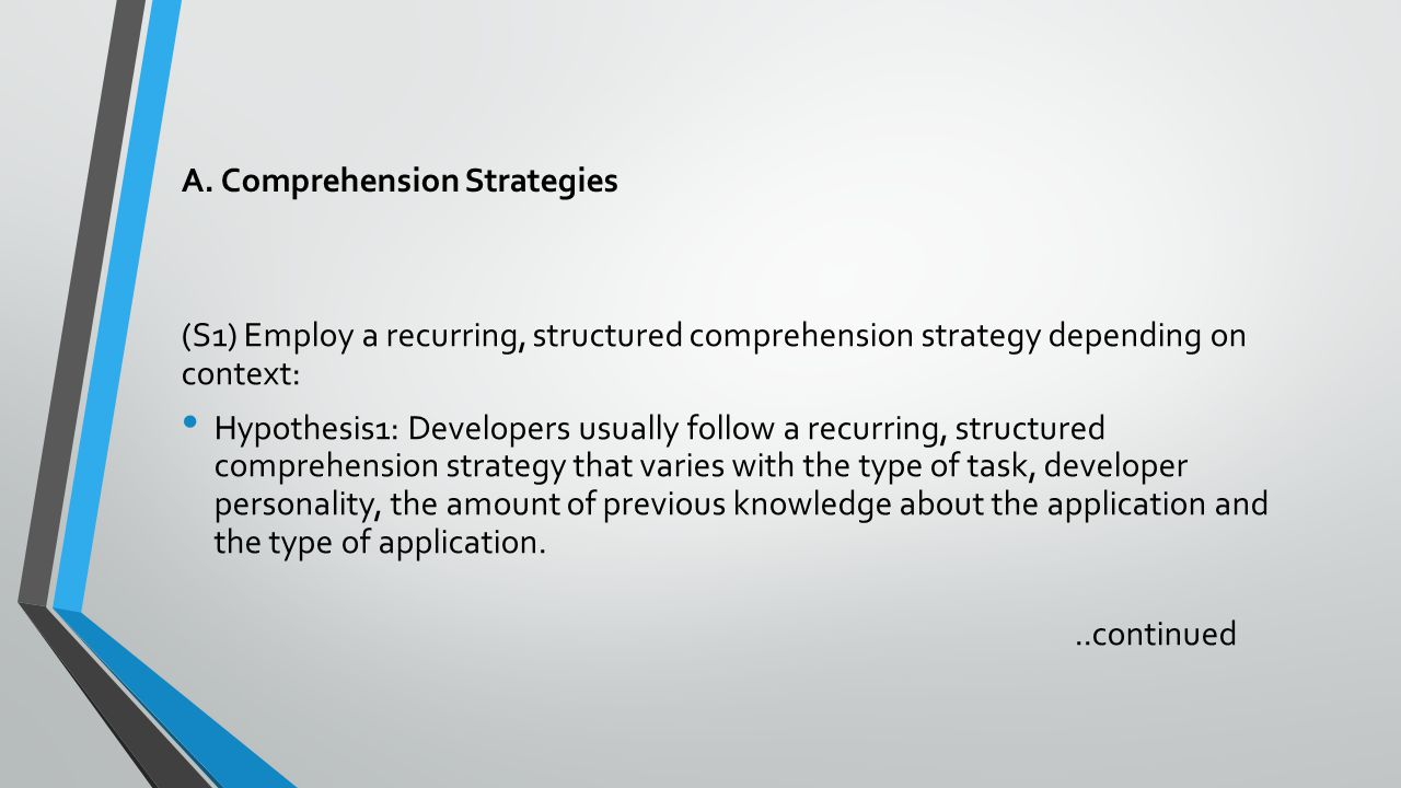 A. Comprehension Strategies (S1) Employ a recurring, structured comprehension strategy depending on context: Hypothesis1: Developers usually follow a