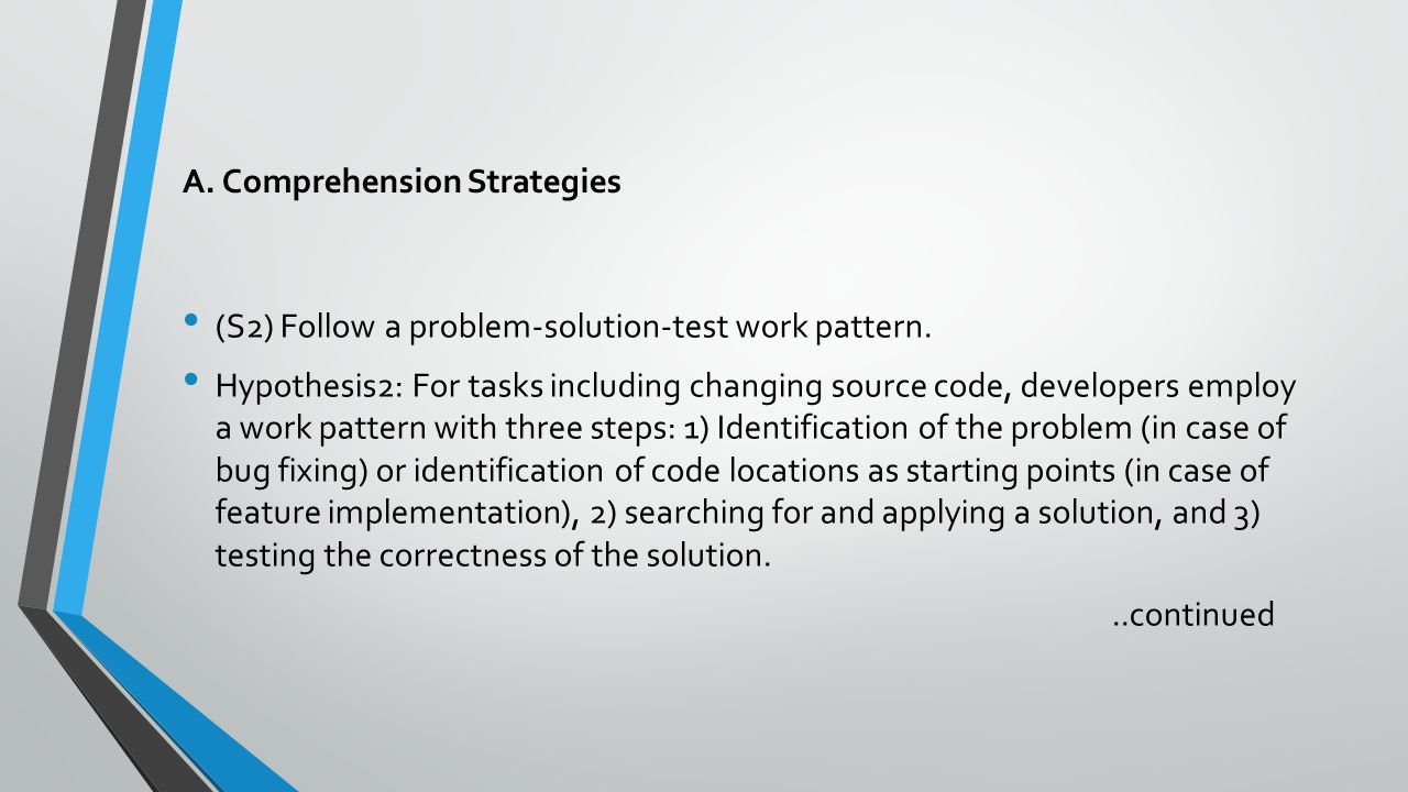 A. Comprehension Strategies (S2) Follow a problem-solution-test work pattern. Hypothesis2: For tasks including changing source code, developers employ