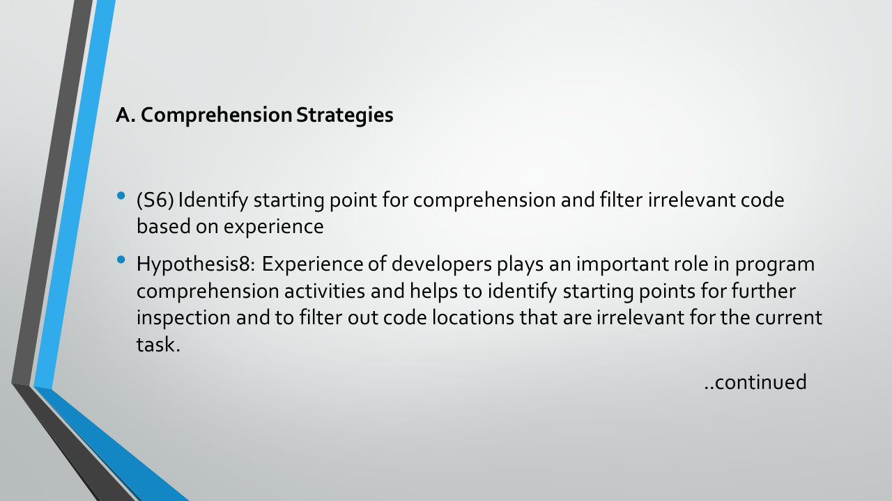 A. Comprehension Strategies (S6) Identify starting point for comprehension and filter irrelevant code based on experience Hypothesis8: Experience of d