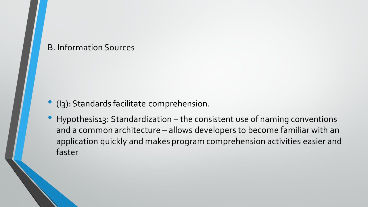 B. Information Sources (I3): Standards facilitate comprehension. Hypothesis13: Standardization – the consistent use of naming conventions and a common