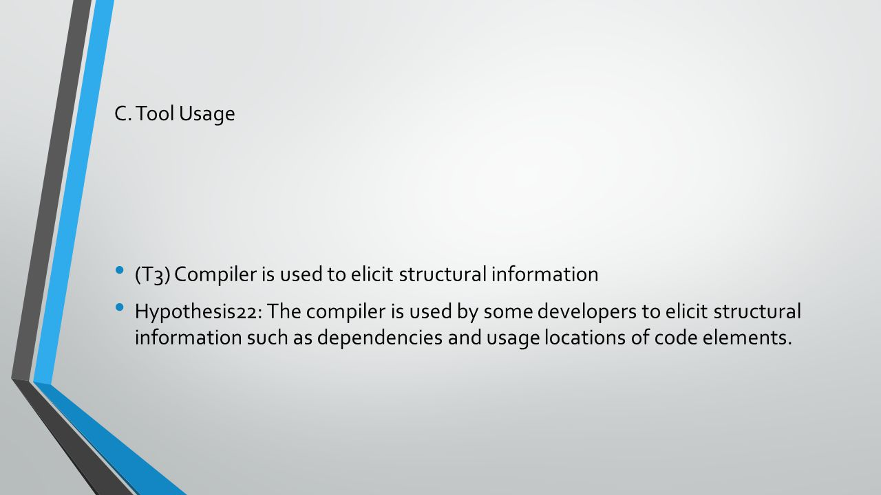 C. Tool Usage (T3) Compiler is used to elicit structural information Hypothesis22: The compiler is used by some developers to elicit structural inform