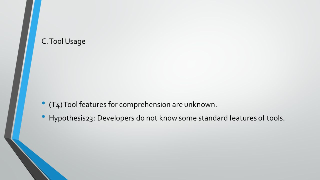 C. Tool Usage (T4) Tool features for comprehension are unknown. Hypothesis23: Developers do not know some standard features of tools.