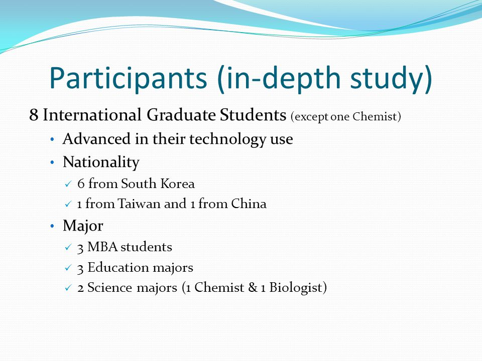 Participants (in-depth study) 8 International Graduate Students (except one Chemist) Advanced in their technology use Nationality 6 from South Korea 1 from Taiwan and 1 from China Major 3 MBA students 3 Education majors 2 Science majors (1 Chemist & 1 Biologist)