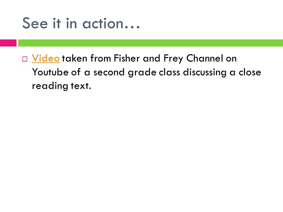 See it in action…  Video taken from Fisher and Frey Channel on Youtube of a second grade class discussing a close reading text. Video