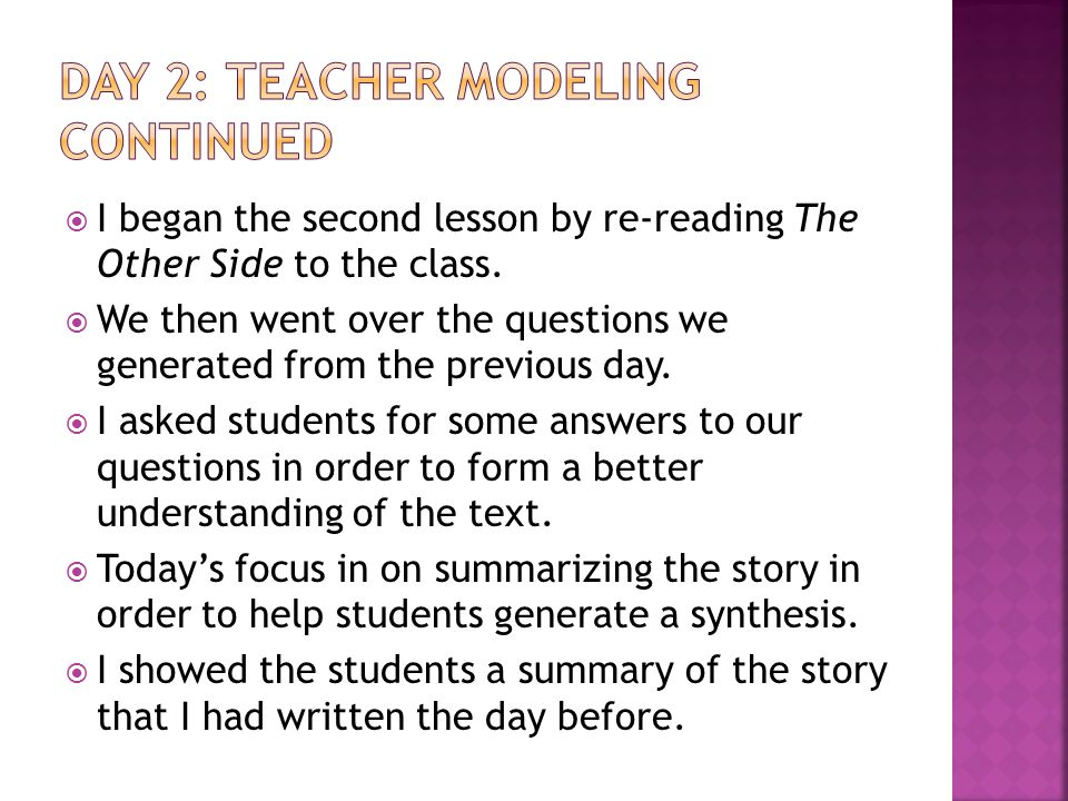  I began the second lesson by re-reading The Other Side to the class.