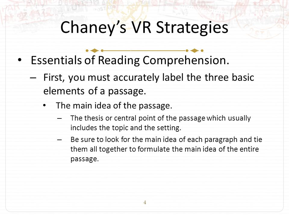 4 Chaney's VR Strategies Essentials of Reading Comprehension.