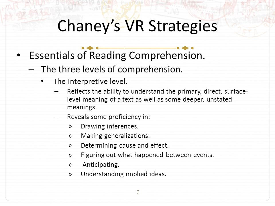 7 Chaney's VR Strategies Essentials of Reading Comprehension.