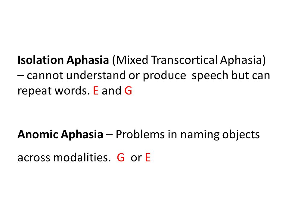 Isolation Aphasia (Mixed Transcortical Aphasia) – cannot understand or produce speech but can repeat words.