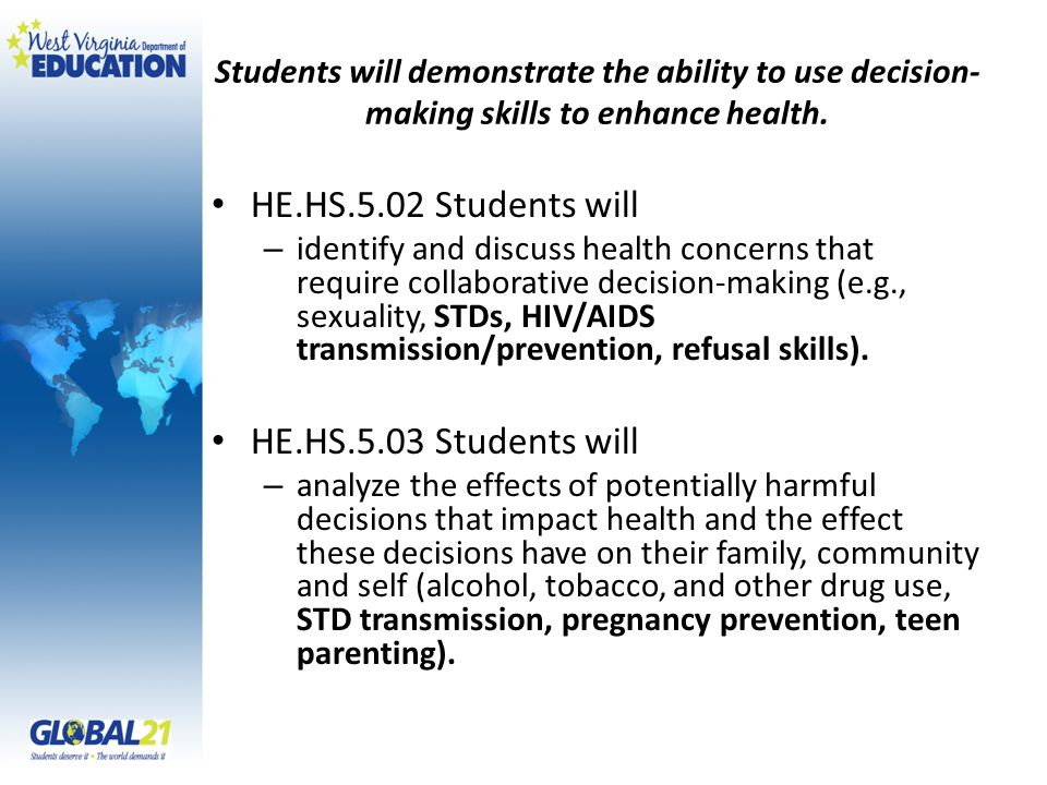 Students will demonstrate the ability to use decision- making skills to enhance health.