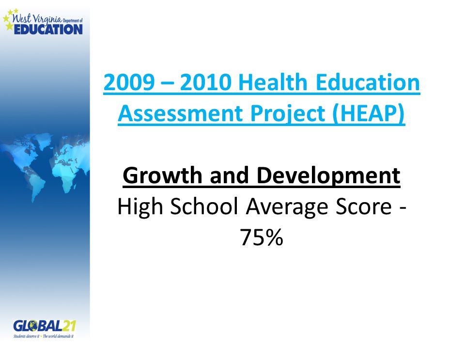 2009 – 2010 Health Education Assessment Project (HEAP) Growth and Development High School Average Score - 75%