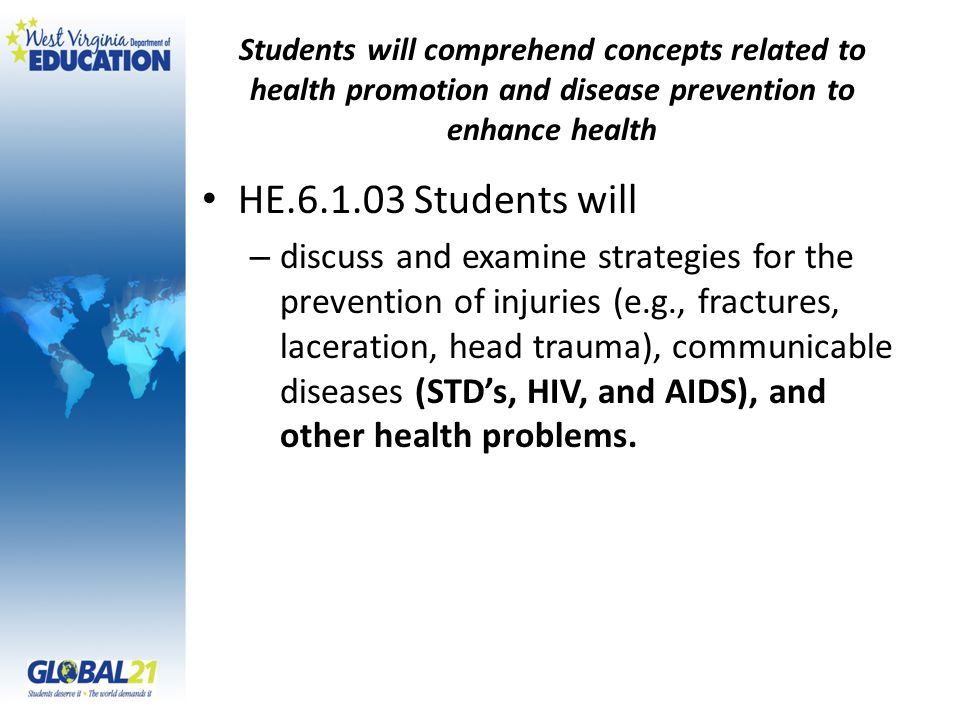 Students will comprehend concepts related to health promotion and disease prevention to enhance health HE.6.1.03 Students will – discuss and examine strategies for the prevention of injuries (e.g., fractures, laceration, head trauma), communicable diseases (STD's, HIV, and AIDS), and other health problems.