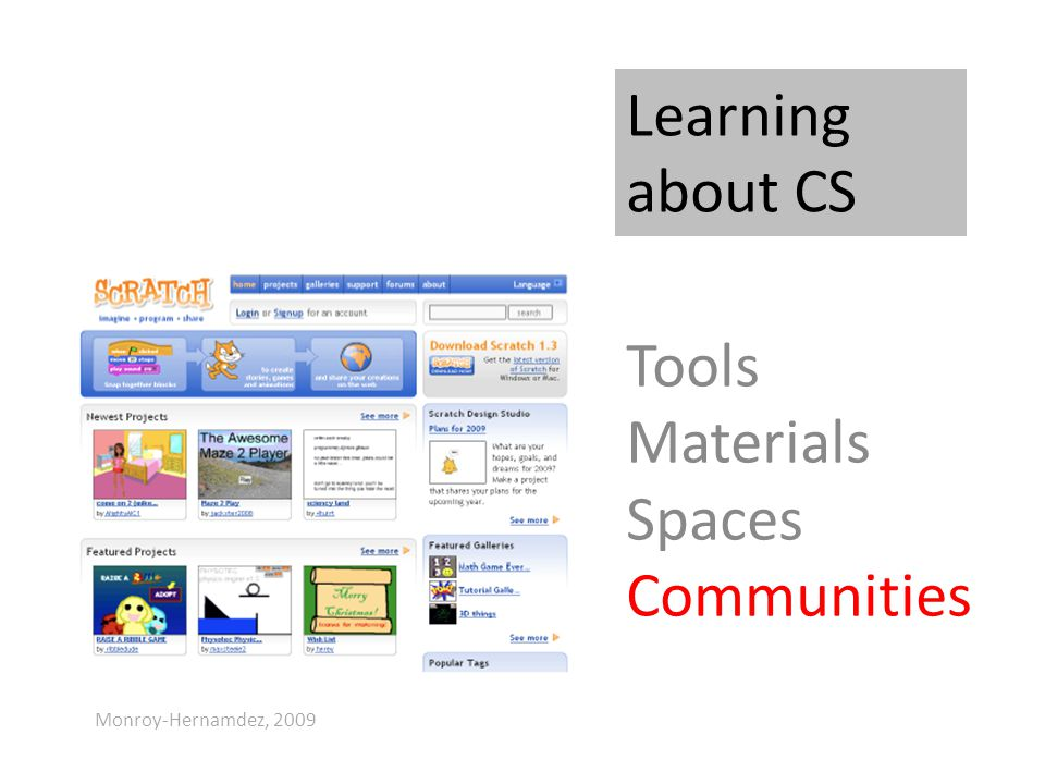 Learning about CS Tools Materials Spaces Communities Monroy-Hernamdez, 2009