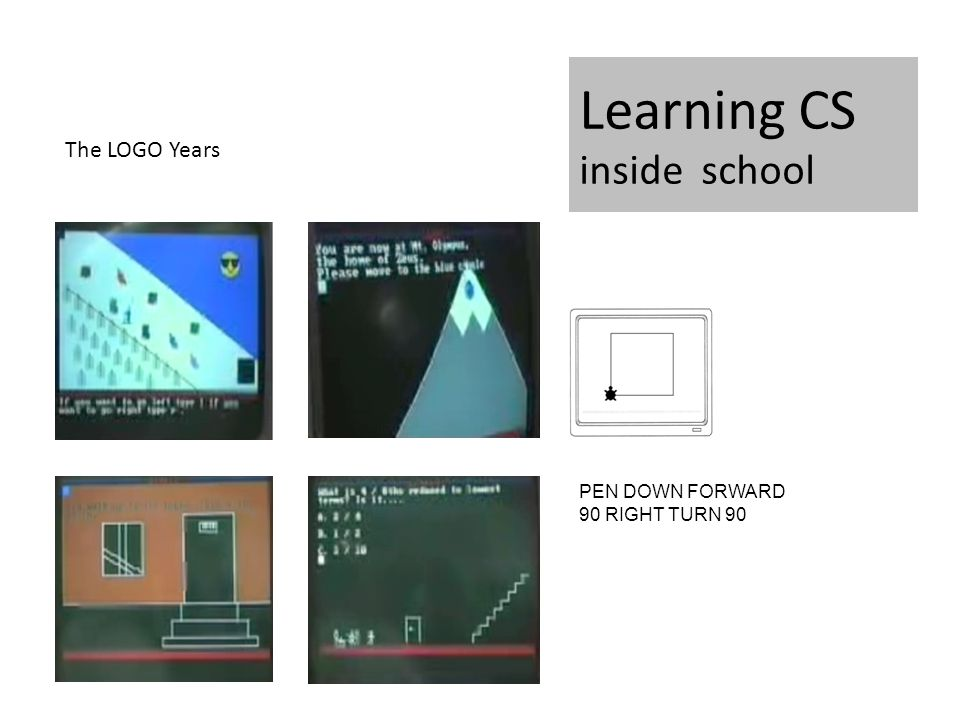 Learning CS inside school PEN DOWN FORWARD 90 RIGHT TURN 90 The LOGO Years