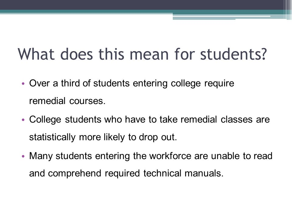What does this mean for students.