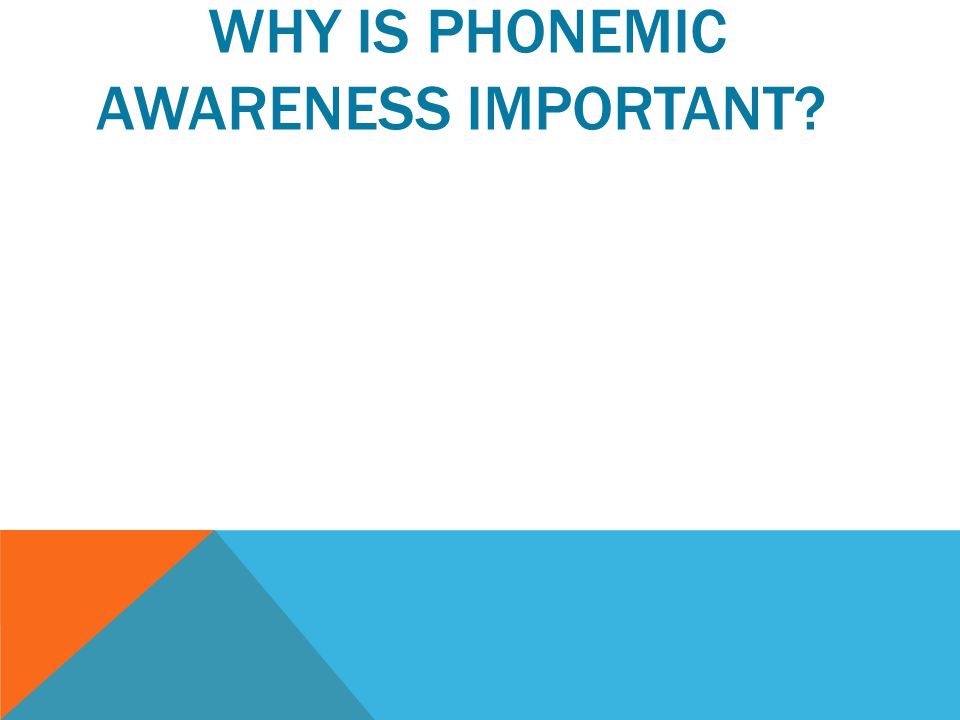 WHY IS PHONEMIC AWARENESS IMPORTANT