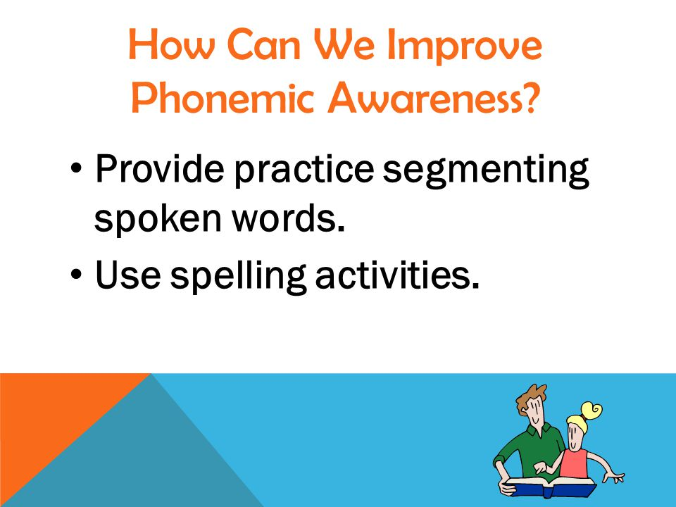 Provide practice segmenting spoken words. Use spelling activities.