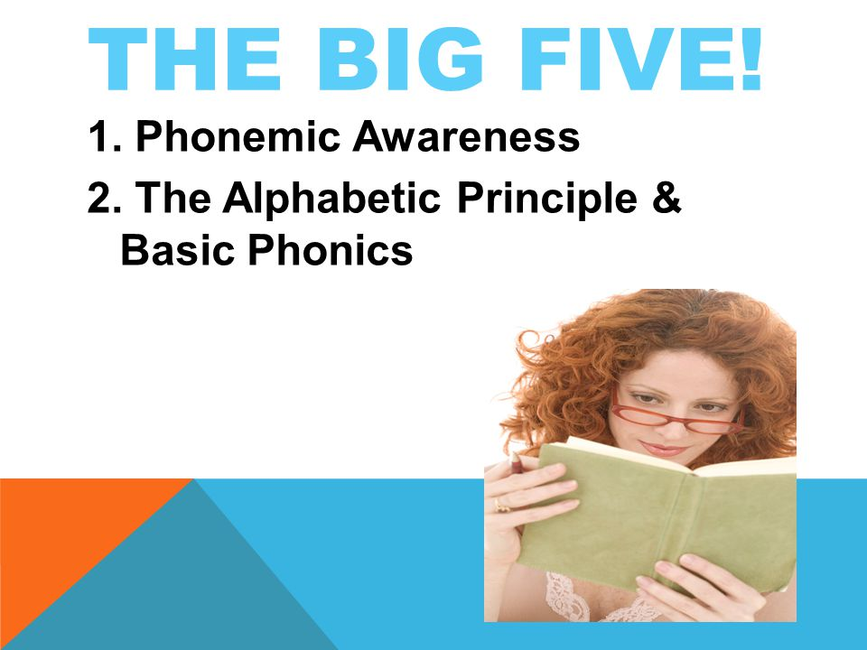 THE BIG FIVE! 1. Phonemic Awareness 2. The Alphabetic Principle & Basic Phonics