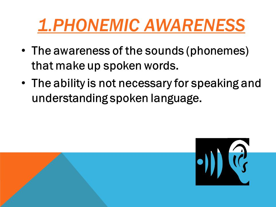 1.PHONEMIC AWARENESS The awareness of the sounds (phonemes) that make up spoken words.