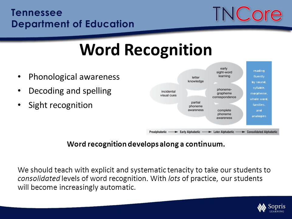 Word Recognition Phonological awareness Decoding and spelling Sight recognition Word recognition develops along a continuum. We should teach with expl