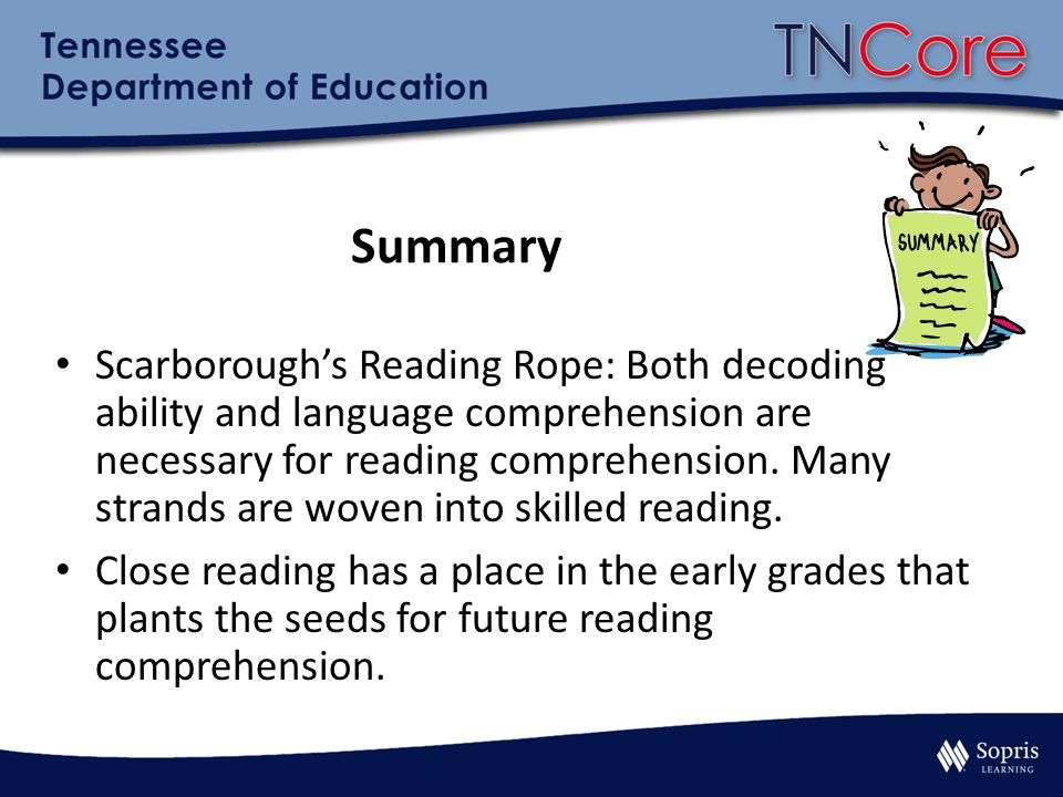 Summary Scarborough's Reading Rope: Both decoding ability and language comprehension are necessary for reading comprehension. Many strands are woven i