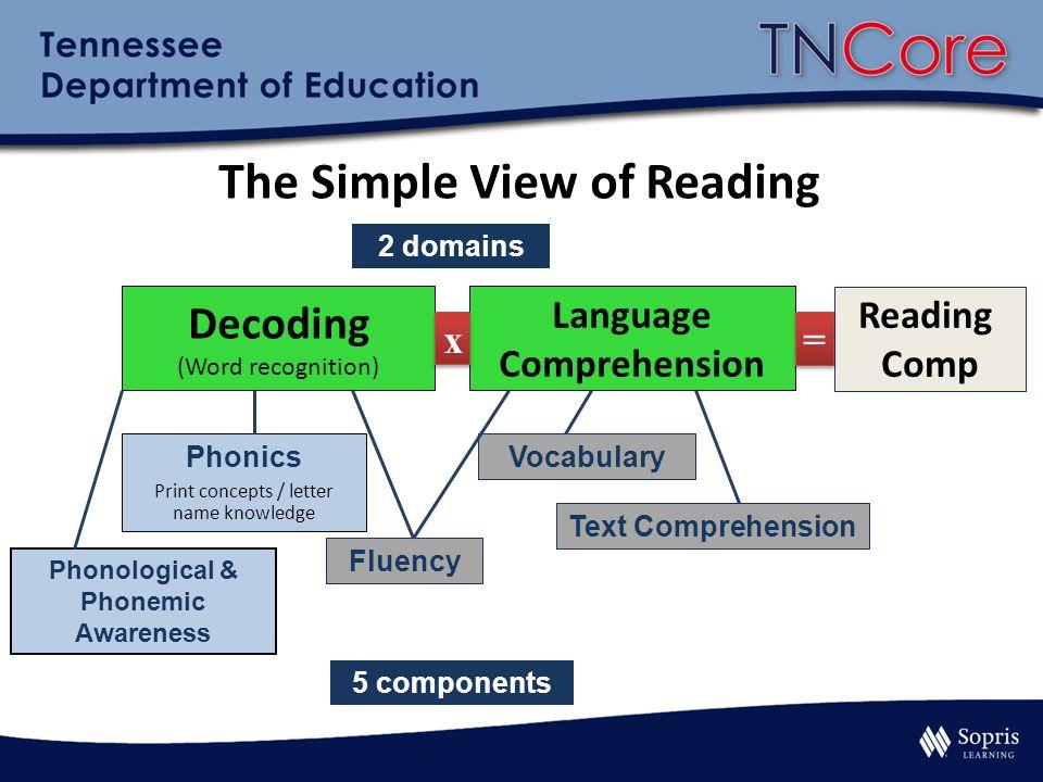 Decoding (Word recognition) Language Comprehension x x Phonological & Phonemic Awareness Phonics Print concepts / letter name knowledge Fluency Vocabu