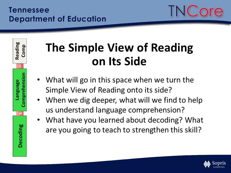 The Simple View of Reading on Its Side What will go in this space when we turn the Simple View of Reading onto its side? When we dig deeper, what will