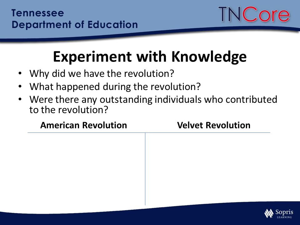 American RevolutionVelvet Revolution Experiment with Knowledge Why did we have the revolution? What happened during the revolution? Were there any out