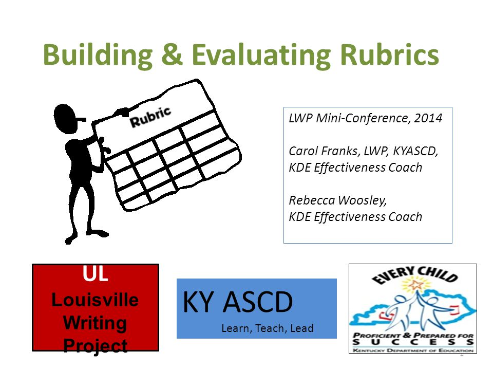 Building & Evaluating Rubrics 1 UL Louisville Writing Project KY ASCD Learn, Teach, Lead LWP Mini-Conference, 2014 Carol Franks, LWP, KYASCD, KDE Effectiveness Coach Rebecca Woosley, KDE Effectiveness Coach