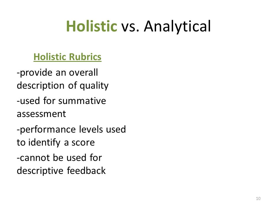 Holistic vs.