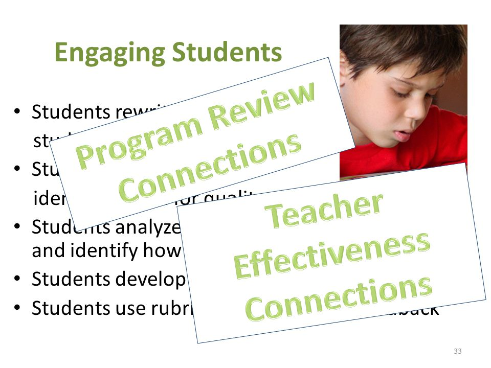 Engaging Students Students rewrite rubrics in student-friendly language Students use models to identify criteria for quality Students analyze poor models using the rubric and identify how to improve Students develop rubrics Students use rubrics to provide peer feedback 33