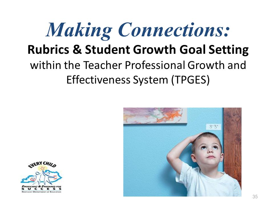 Making Connections: Rubrics & Student Growth Goal Setting within the Teacher Professional Growth and Effectiveness System (TPGES) 35