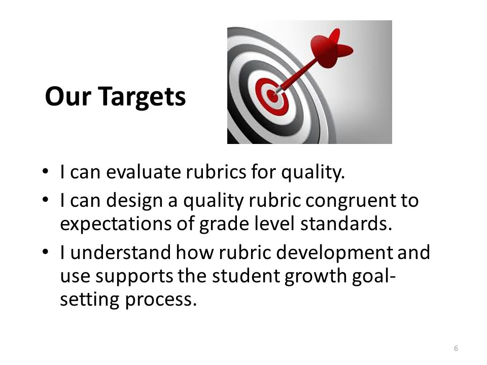 Our Targets I can evaluate rubrics for quality.