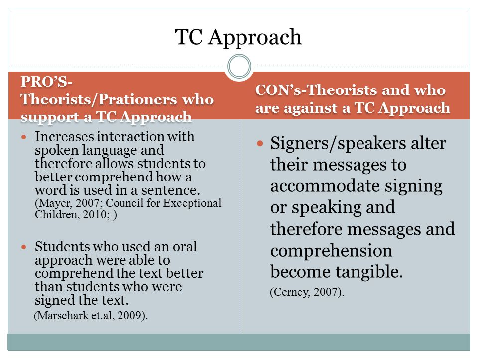 PRO'S- Theorists/Prationers who support a TC Approach CON's-Theorists and who are against a TC Approach Increases interaction with spoken language and