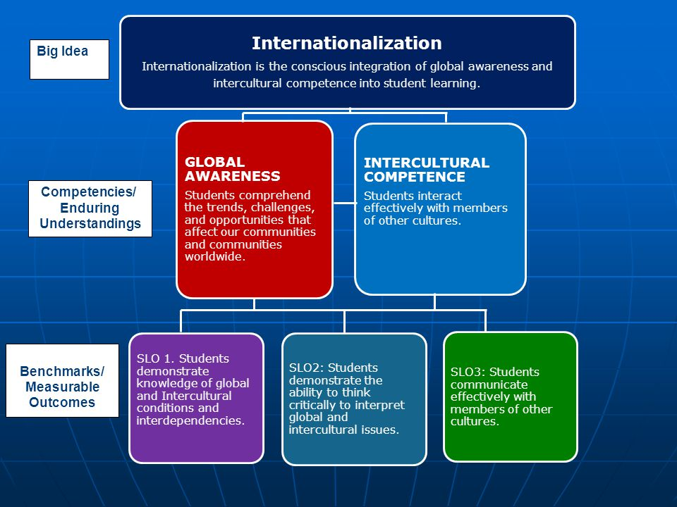 Internationalization Internationalization is the conscious integration of global awareness and intercultural competence into student learning. GLOBAL