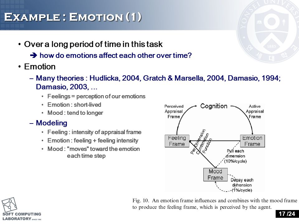 Example : Emotion (1) Over a long period of time in this task  how do emotions affect each other over time.