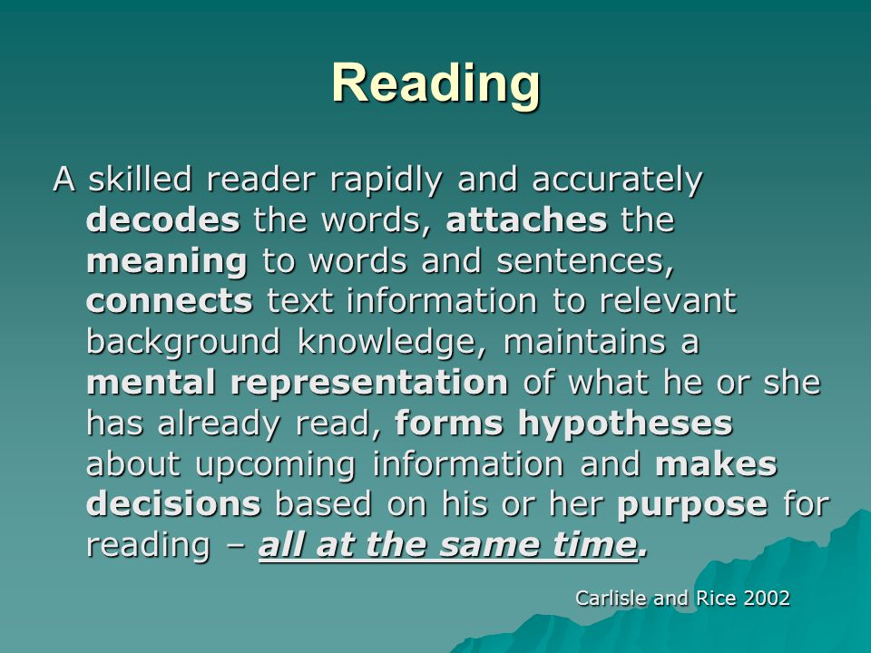 During Reading: Procedures for Teaching Comprehension  During reading: –Model summarizing –Model clarifying –Model asking questions –Model predicting –Model making connections –Model visualizing –Model adjusting reading speed