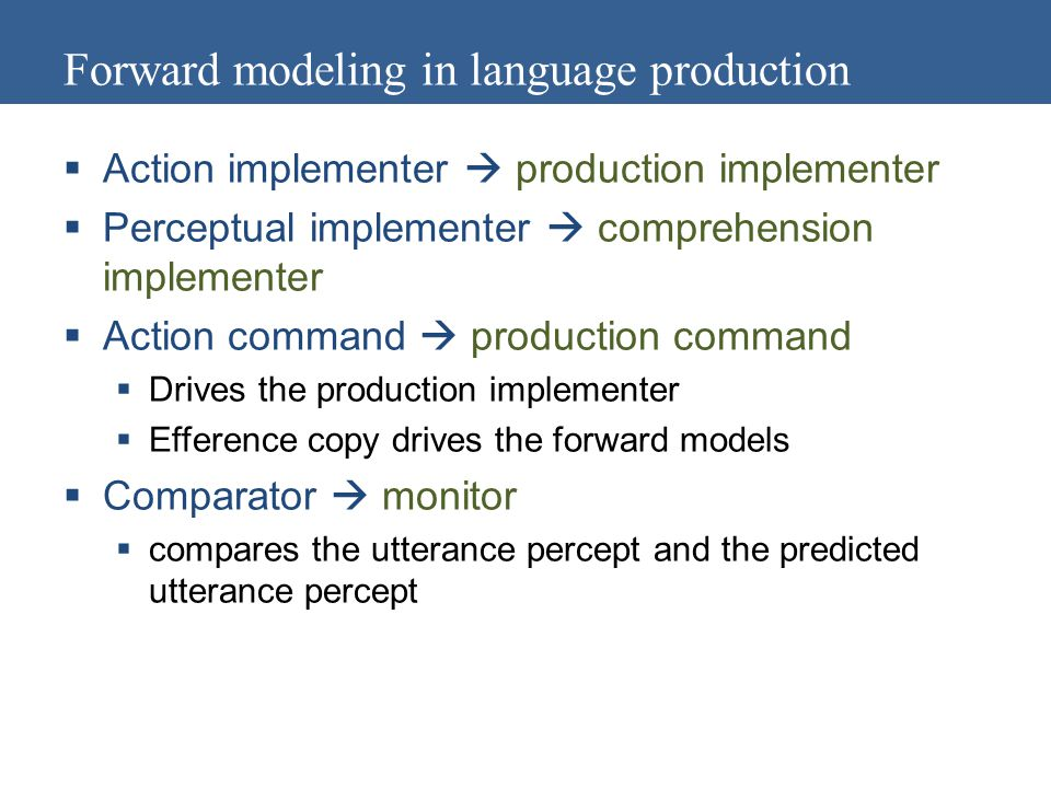 Forward modeling in language production  Action implementer  production implementer  Perceptual implementer  comprehension implementer  Action command  production command  Drives the production implementer  Efference copy drives the forward models  Comparator  monitor  compares the utterance percept and the predicted utterance percept